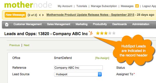 Mothernode CRM Integration HubSpot